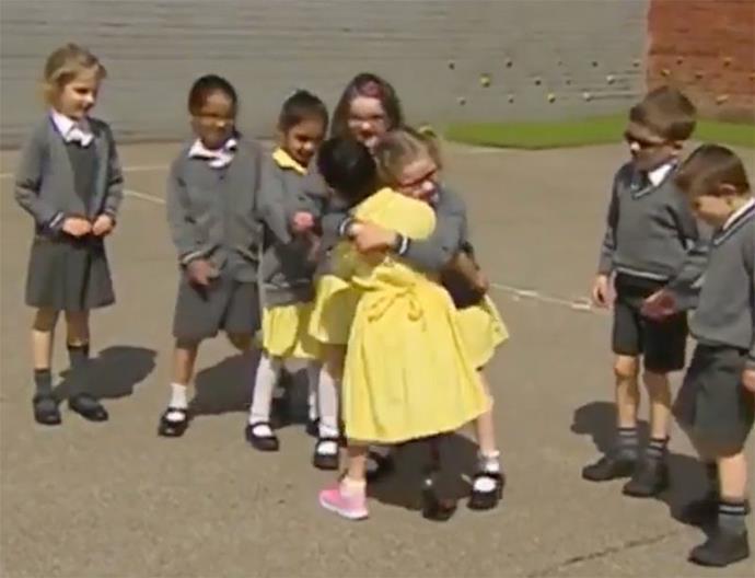 One friend gave her a lovely big hug (Credit: Facebook/ BBC Midlands Today)