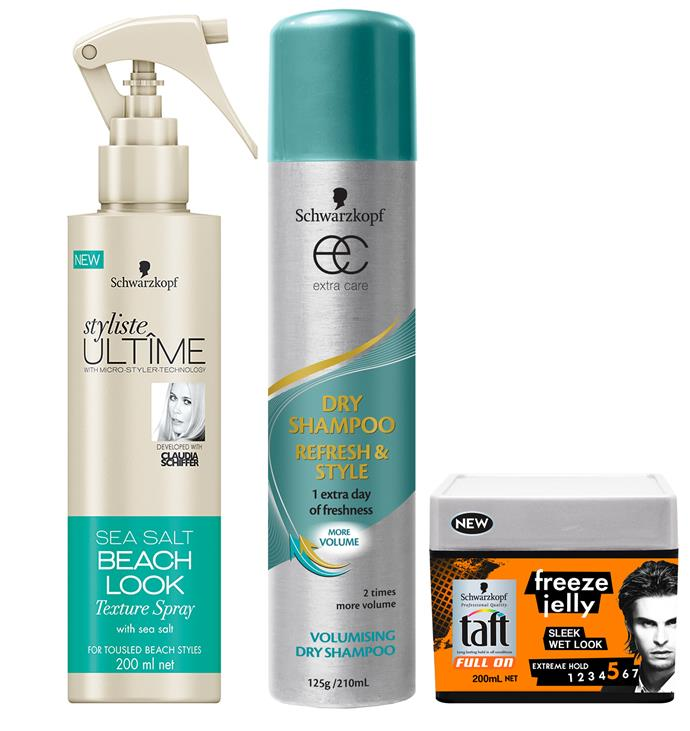 Styliste Ultime Sea Salt Texture Spray *$9.99* Extra Care Dry Shampoo *$7.99* TAFT Full On Freeze Jelly *$7.49*