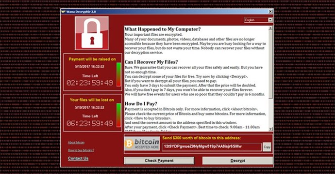 Screenshot showing what comes up on hacked computers.