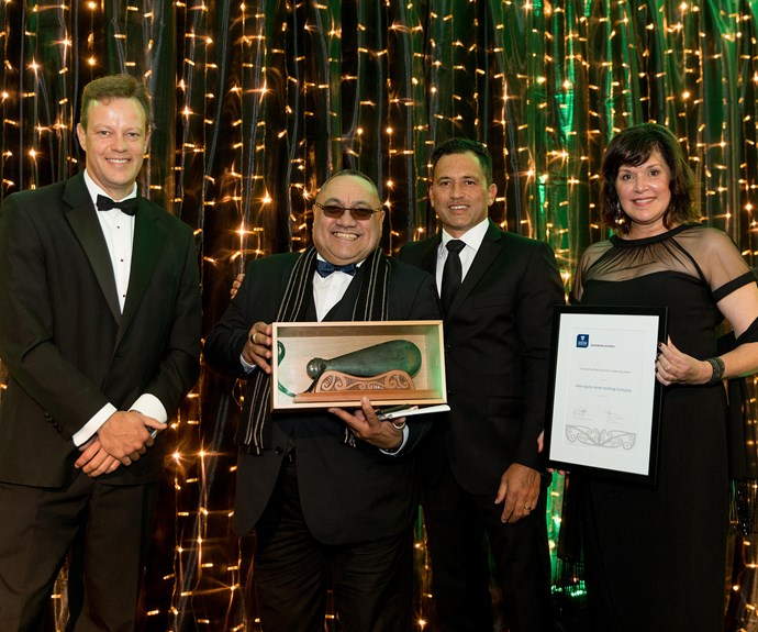 Kahungunu Asset Holding Company representatives, winners of the Outstanding Māori Business Leadership Award (for organisations)