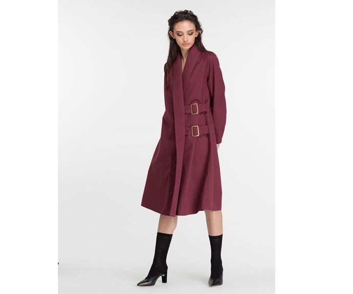 [Okewa raincoat, $695, from The Shelter.](https://www.theshelteronline.com/nezu-coat-plum.html)