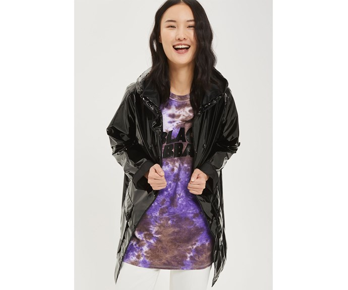 [Rain jacket, $84, by Topshop.](http://www.topshop.com/en/tsuk/product/clothing-427/jackets-coats-2390889/vinyl-hooded-rain-mac-6573384?bi=0&ps=20)