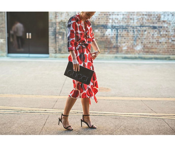 Stella McCartney dress and Gucci bag captured by Boni Febrianda.