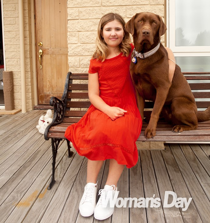 Maddie with her beloved dog Coco.