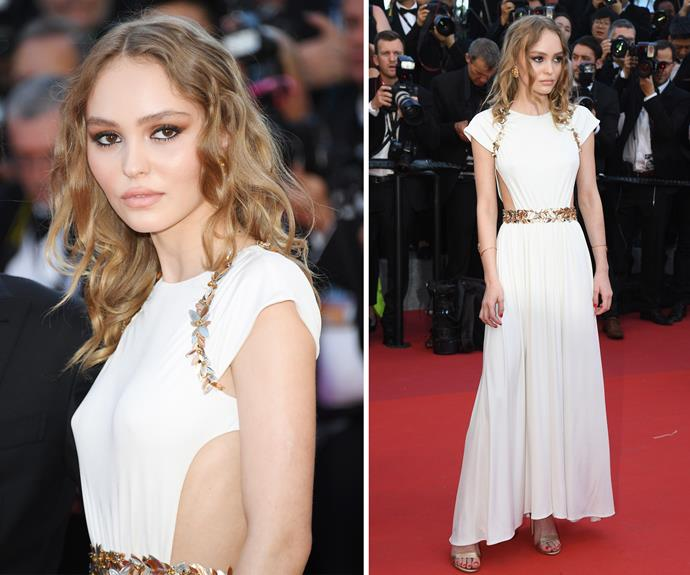 Lily Rose Depp is a picture of elegance in her Grecian-inspired white gown.
