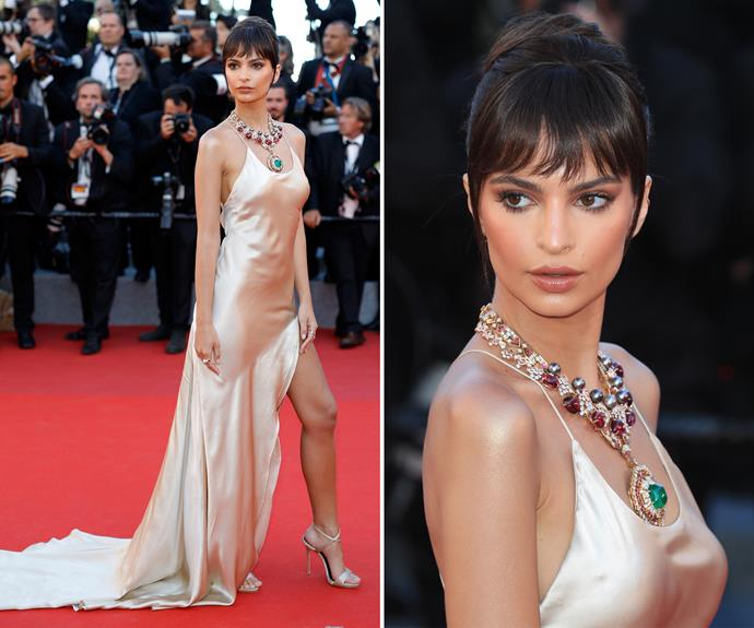 Check out that bling! Emily Ratajkowski accessorises her champagne gown with an eye-catching necklace.