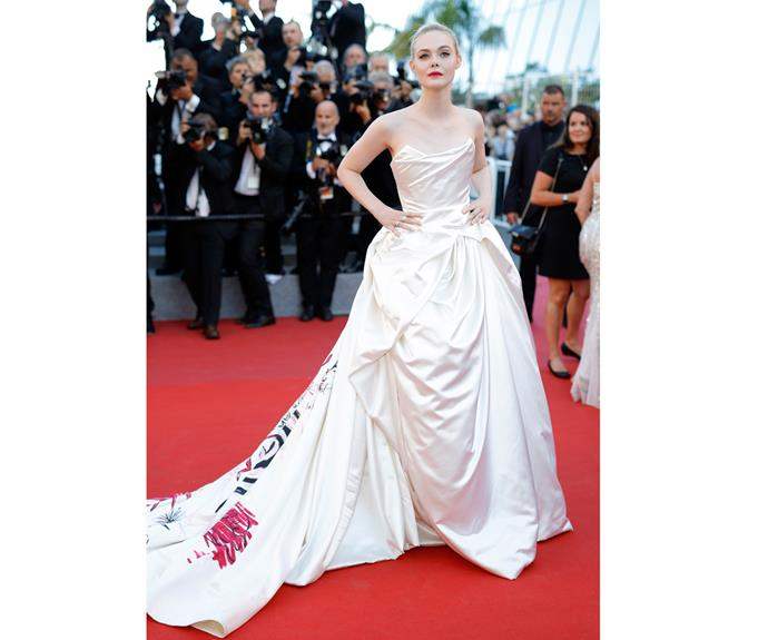 Elle Fanning looked like a princess in her regal cream-coloured gown.