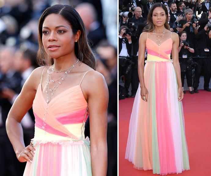 Naomie Harris adds a pop of colour to the red carpet.
