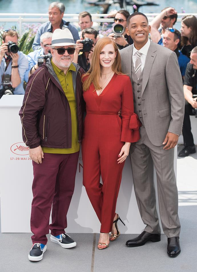Jessica Chastain poses with fellow jury members Will Smith and Pedro Almodovar.