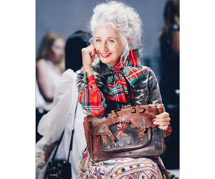 Sarah Jane Adams in vintage and a 46-year-old school satchel she self-customised, photo by @talibinkin.