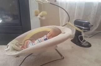 DIY baby bouncer.