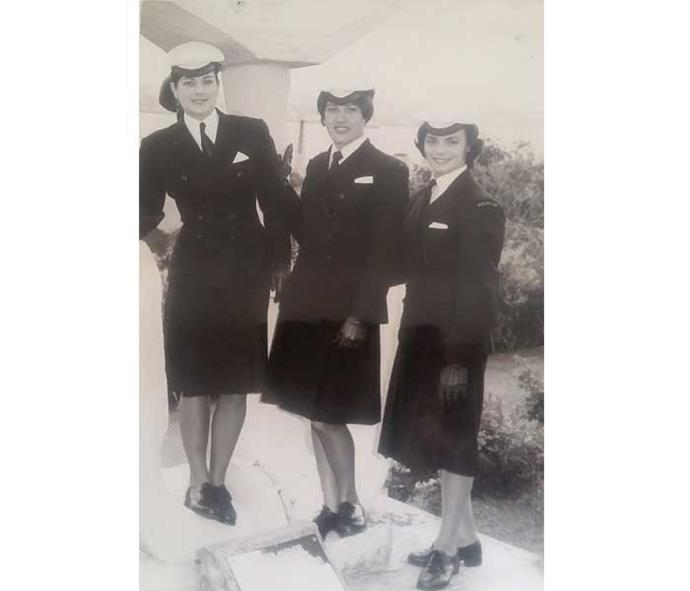 Heather, left, and fellow wrens in their immaculate uniforms.
