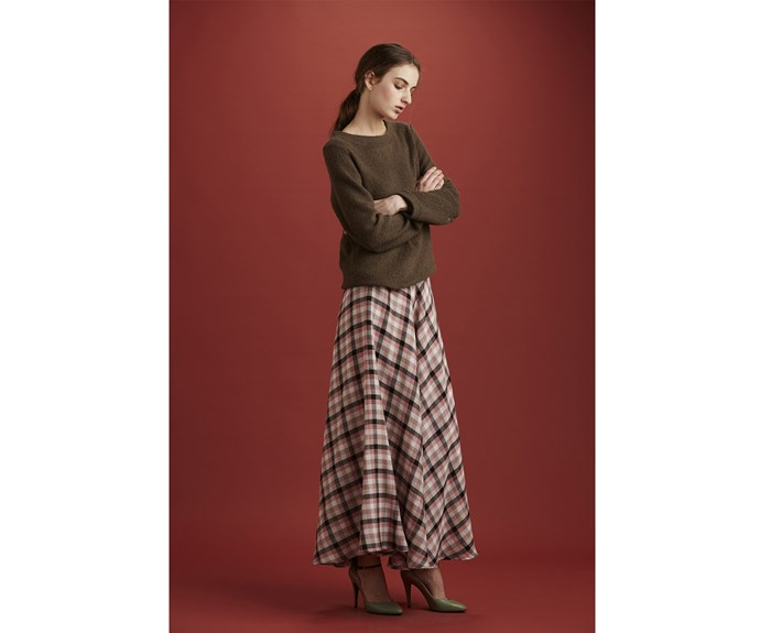 Skirt, $479, by [Ingrid Starnes.](https://ingridstarnes.com/collections/aw17/products/wanderskirtrayonandnylonpinkcheck)