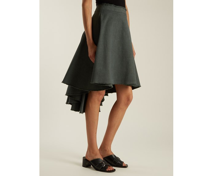 J. W. Anderson skirt, $885, from [Matches Fashion.](http://www.matchesfashion.com/intl/products/J-W-Anderson-Asymmetric-hem-cotton-canvas-skirt-1095691)