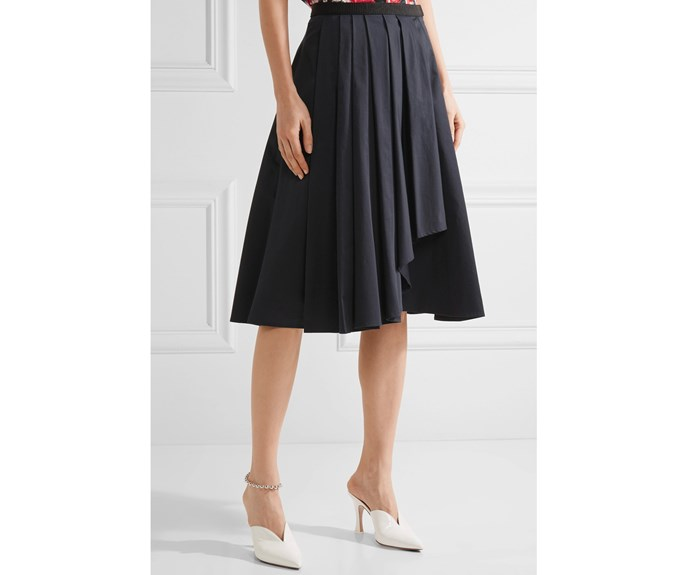Jason Wu skirt, $1,059, from [Net-a-Porter.](https://www.net-a-porter.com/nz/en/product/921767/jason_wu/asymmetric-pleated-cotton-poplin-skirt)