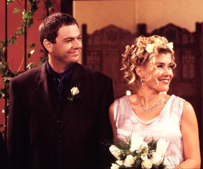 **David & Ellen: May 28, 1997** Ellen Crozier (Robyn Malcolm) and David Kearney (Peter Elliott) were getting on famously – until David's wife arrived back on the scene. Misinterpreting the situation, Ellen fled to Fiji. When David tracked her down, she had some surprising news – she was pregnant! Soon after, the pair threw a birthday party and sprang a surprise wedding on their guests.