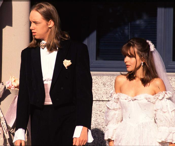 **Nick & Rachel: July 24, 1995** This one was a marriage made inside a cheque book! Rachel McKenna (Angela Bloomfield) and Nick Harrison (Karl Burnett) were university students trying to scratch out a living. There was no romance, but realising that they'd be eligible for student allowances if they were married, they didn't think twice about putting rings on each other's fingers.
