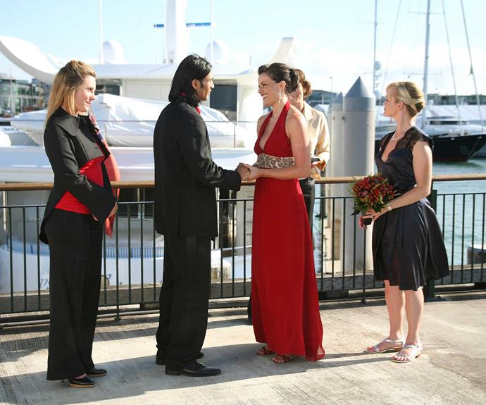 **TK & Sarah: May 14, 2007**  After months of feeling he came second best to Craig Valentine (Renato Bartolomei), TK Samuels (Ben Mitchell) won the race for Sarah Potts' heart. There was a tense moment at their moving waterfront ceremony when the groom thought his bride was a no-show, but Sarah arrived in the nick of time.