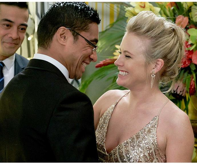 **Vinnie & Nicole: September 2, 2015**  Guests got more than they bargained for when Vinnie Kruse's (Pua Magasiva) birthday party turned out to be a surprise wedding! The mischievous nurse and Nicole Miller (Sally Martin) sealed the deal in an intimate ceremony officiated by Vinnie's cousin Maxwell Avia (Robbie Magasiva), whose return to Ferndale topped off a perfect day.