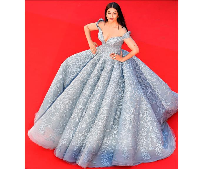 Aishwarya Rai Bachchan causes a commotion in her ball gown by Dubai-based Filipino designer Michael Cinco on Day 3.