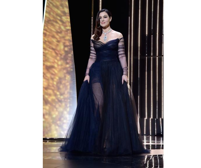 Monica Bellucci takes our breath away in a Dior gown and Cartier jewels as Master of Ceremonies for the opening gala.