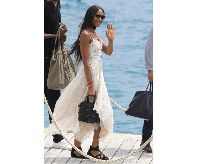 Naomi Campbell takes the boat out, literally, in an ethereal yet edgy Alexander McQueen dress for her birthday.