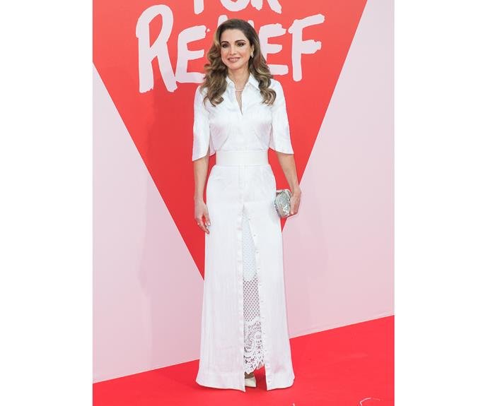 Queen Rania of Jordan rules in Givenchy Haute Couture at the Fashion for Relief gala.