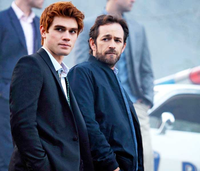 Luke and KJ Apa in Riverdale. Luke played KJ's dad Fred Andrews.