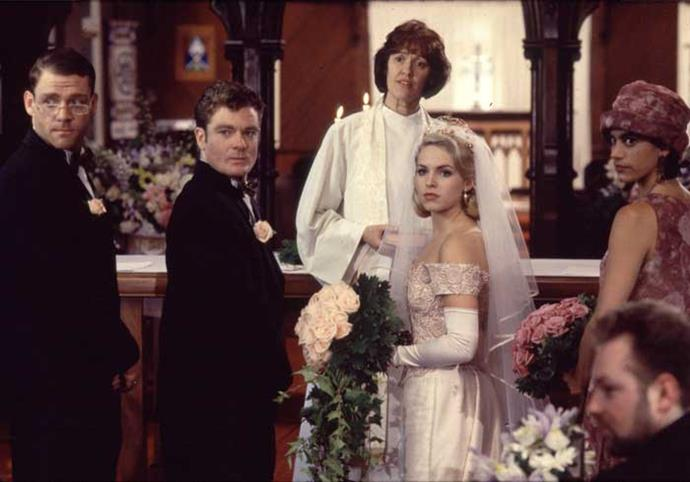 Kirsty and Lionel's wedding was the 1994 season finale cliffhanger, with the service interrupted by Kirsty's former love, Stuart.