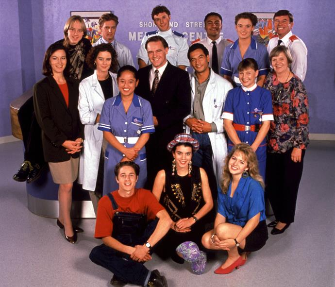 Martin with the rest of the original 1992 cast of *Shortland Street*.
