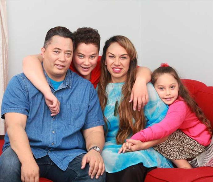 Loving mum Toni with hubby Adrian, Te Okanga and Ropine.