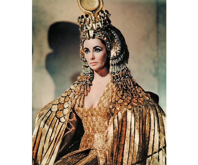 Elizabeth Taylor's *Cleopatra* is a study in gold and glitzy dress, always with winged eyeliner.