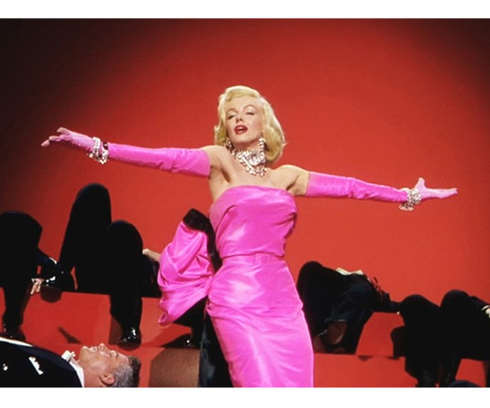 Is there a more famous pink dress than the one Marilyn Monroe's character  Lorelei Lee wears in *Gentlemen Prefer Blondes*?