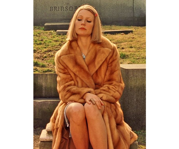 Gwyneth Paltrow's Margot Tenenbaum in *The Royal Tenenbaums* wears fur and a Lacoste tennis dress all year round.