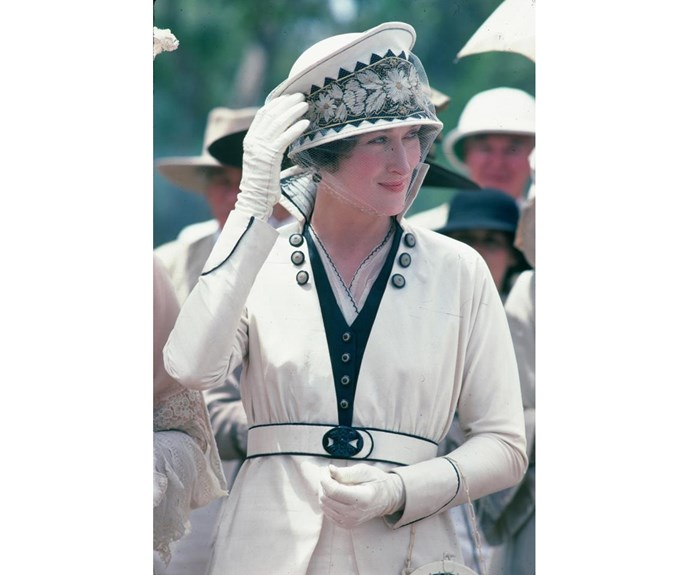 Meryl Streep's Karen Blixen in *Out of Africa* wears one of our favourite wedding outfits.