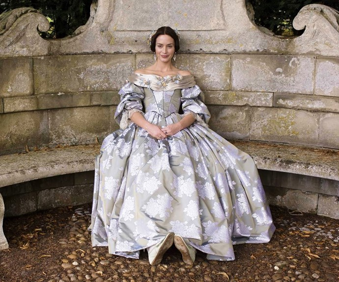 Emily Blunt's *Young Victoria* wears silk, patterned dresses only fit for a young Queen.