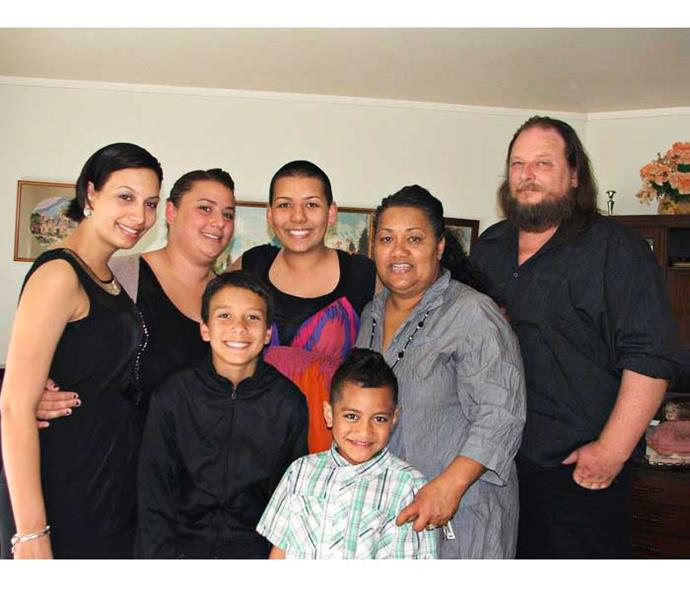With her whanau (from left) Emma, Tracey, Jesse, Lincoln, Savita and Wayne (front).