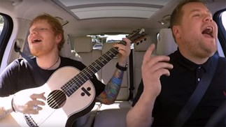Ed Sheeran with Late Late show host James Corden.