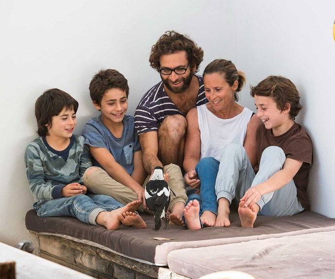 Oliver, Rueben, Cameron, Sam and Noah with Penguin. Photography by Cameron Bloom.