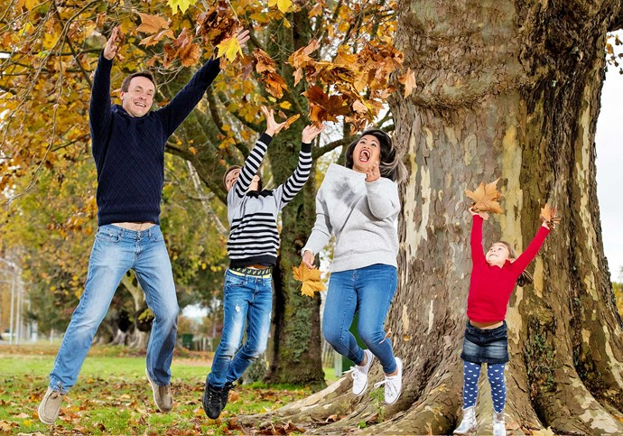After recovering from  bypass surgery, Cynthia has good reason to jump for joy with (from left) Graeme, Elliott and Elena.
