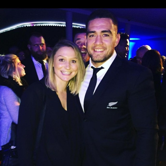A more recent addition to the All Blacks team, **Codie Taylor** has the support of his partner **Lucy Ryan**.