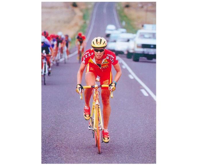 Road cyclist Jacinta in action.
