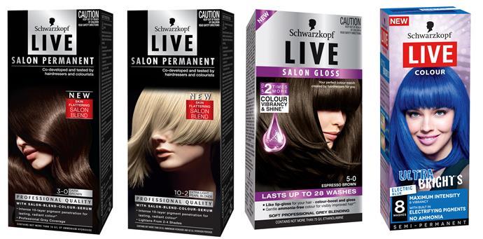 Live Salon Permanent and Live Salon Gloss $16.99, Live Colour $8.99