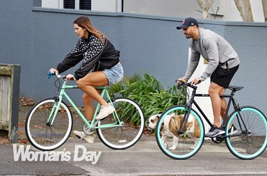 Kayla Cullen and Shaun Johnson's loved-up bike riding date