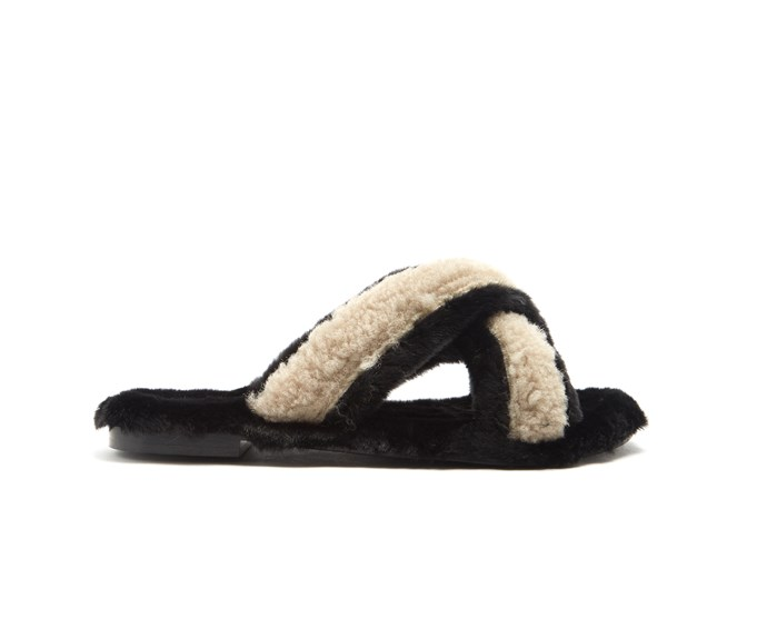 [Avec Moderation slipper, $365, from Matches Fashion.](http://www.matchesfashion.com/intl/products/Avec-Mod%C3%A9ration-St-Moritz-shearling-and-faux-fur-slides-1152506)