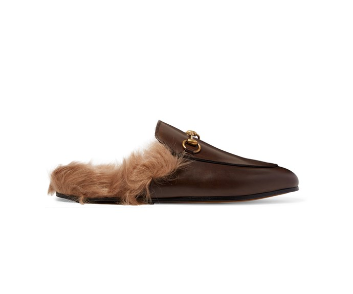 [Gucci slippers, US$1,188, from Net-A-Porter.](https://www.net-a-porter.com/nz/en/product/723247/Gucci/horsebit-detailed-shearling-lined-leather-slippers)