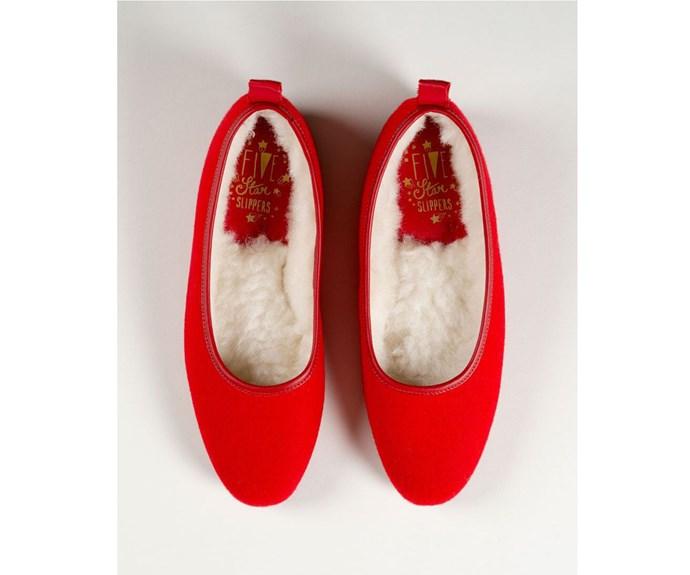 [Slippers, $139, by Minnie Cooper.](http://fivestarslippers.nz/ballet-slipper/ballet-red-wool)