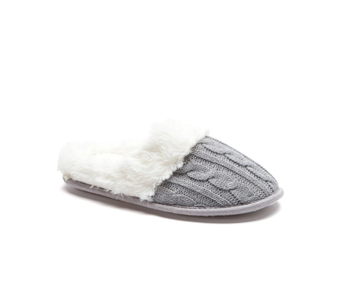 [Slippers, $19.99, by Number One Shoes.](https://www.numberoneshoes.co.nz/product/mia-slipper-scuffs-23357426)