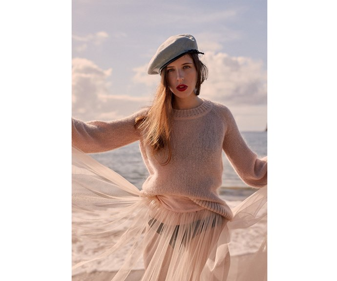 [Jumper, $310, by Beach Knickers.](https://beachknickers.com/products/blush-jumper?variant=41368918851)