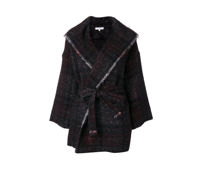 [Iro shawl, $632, from Far Fetch.](https://www.farfetch.com/shopping/women/iro-check-frayed-edge-coat-item-12190900.aspx?fsb=1&storeid=9053&size=19&utm_source=Hy3bqNL2jtQ&utm_medium=affiliate&utm_campaign=Linkshareus&utm_content=10&utm_term=USNetwork)